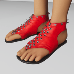 spiked sandal red