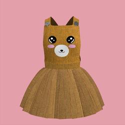 Corduroy Bear Overall Dress 03
