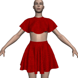 Poncho Caped Top & Skirt Set - Red Lacey Flowers