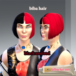 biba hair (black and red texture )