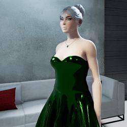 Female  Cosmos Midnight-Green Metallic Strapless Gown
