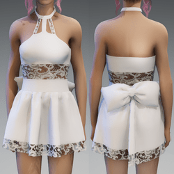White Cute Partydress with a Bow and Lace