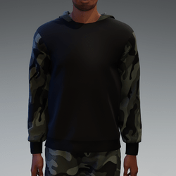 Black Hooded Pullover with Camouflage Hood and Sleeves for Men