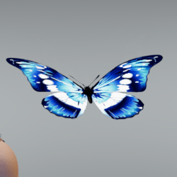 Glowing animated Butterfly pet blue [Glasses slot]