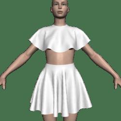 Poncho Caped Top & Skirt Set - Plain White