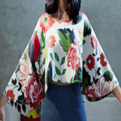 ✿Poncho with Floral Bird print✿