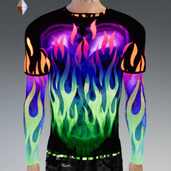 Male - GLOW-Animated Flames Double-Long Sleeve T-Shirt