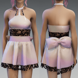 Plastic Holo Cute Partydress with a Bow and Lace