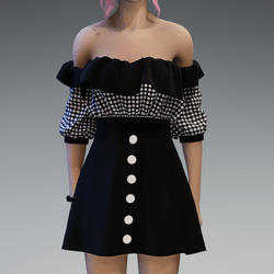 Flattering Spring Dress with Black and Dotted Top and Black Skirt