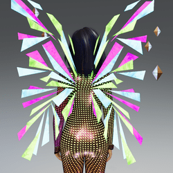 Female - Pink-Green-Blue Glow-Animated Techno Wings