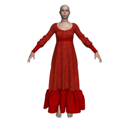 Long Ruffle Gown - Red Velvet-n-Lace