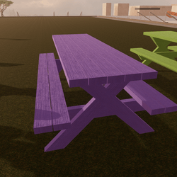 Purple Stained Picnic Table