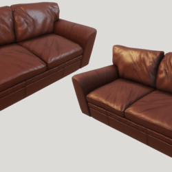 Old Cinnamon Leather Couch - Clean