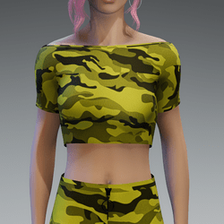 Basic Camouflage Yellow Crop Top