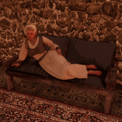 medieval woman lying on a sofa