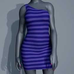 One Shoulder Striped Dress - Purple
