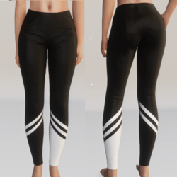 Stripped Leggings - Black and White