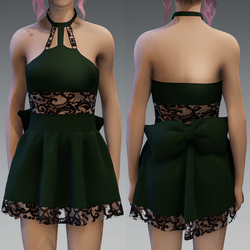 Dark Green Cute Partydress with a Bow and Lace