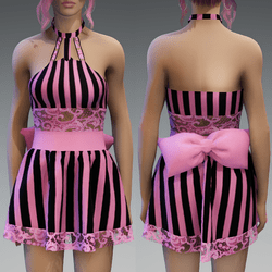 Black&Pink striped Cute Partydress with a Bow and Lace