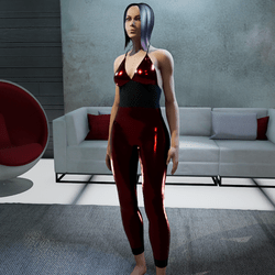Jumpsuit metallic red