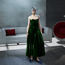 Female Cosmos Midnight-Green Metallic Gown (v1)