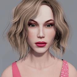 Angela - Porcelain - Light Pink Makeup - Green Eyes - Women AV2