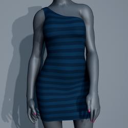 One Shoulder Striped Dress - Blue