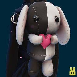 Plush bunny - hand - black n white