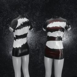 Dress Mila Latex Holes black red