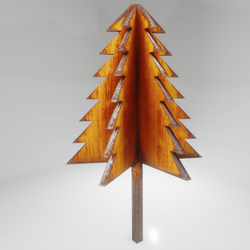 cubism tree - evergreen - cast iron & rust