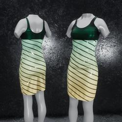 Dress Elly latex stripes green orange