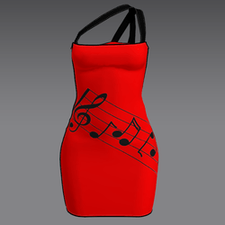 Red Mini Dress with Music Notes Acpixl