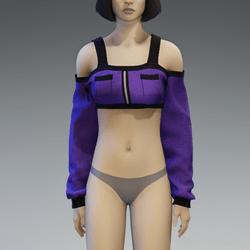 Purple Long Sleeved Off Shoulder Top