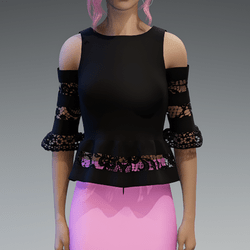 Elegant Top with Lace in Black V3