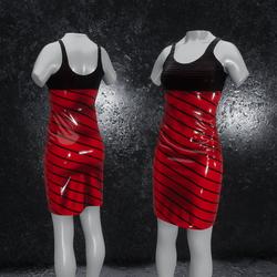 Dress Elly latex stripes red
