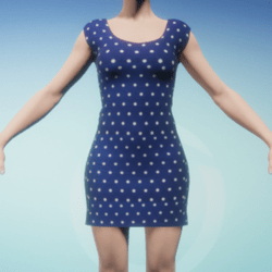 Blue Polka Dot Women's Dress