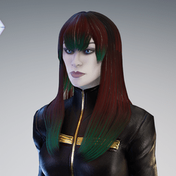 PM - Female Hair 01 - Red to Green Color