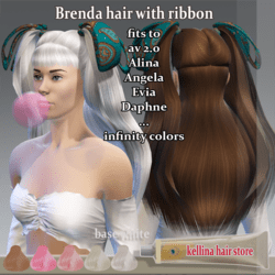 brenda hair with ribbon bow -infintiy colors -(fits a lot of avatar)