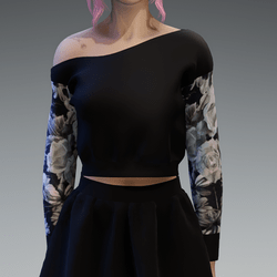 Black Pullover oneshoulderfree shorter with Roses4 Pattern Sleaves