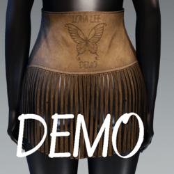 High Waist Fringe Suede Skirt - DEMO