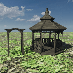 GARDEN GAZEBO SET - SMOOTH WOODEN SHADING