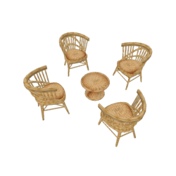Bamboo Chairs Set x 4