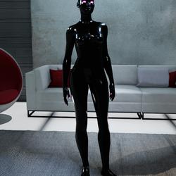 Female Black Avatar Glowing White Eyes Pink Eyelashes & Nails