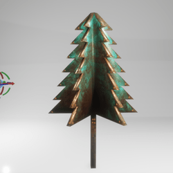 cubism tree - evergreen - copper & patina
