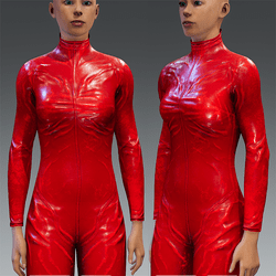 Bodysuit Rubber Catsuit Latex Red