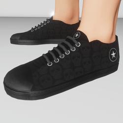 Men's retro low top shoes (black skulls)