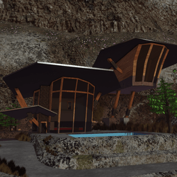 Cliffside House and landscape