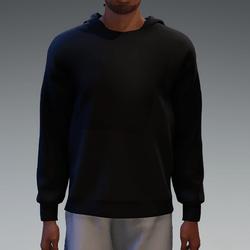 Black Basic Hooded Pullover for Men