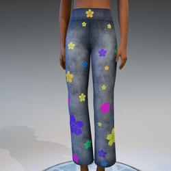 Denim Flower Pants