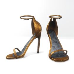 Ankle strap sandals for Nicci - glitter saffron